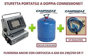 Estufa estufa portátil a doble conexión incluye bombona Gas 3 Kg Campingaz