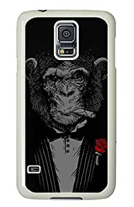 Galaxy S5 Case, S5 Case, Handsome Monkey Customized PC White Edge Phone Cases Cover for Samsung Galaxy S5 / Galaxy SV
