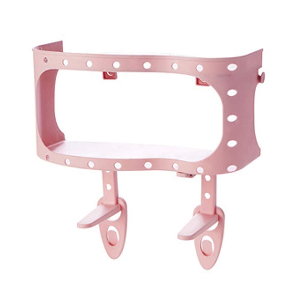 Slendima 11.91'' x 5.66'' x 12.29'' Adhesive Plastic Rack Holder Kitchen Bathroom Wall Mount Storage Bracket - Easy to Install Pink