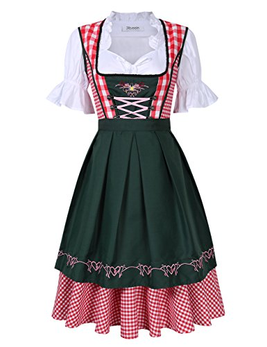 Yiwa Kojooin Women's Oktoberfest Formal Dress Plaid Embroidery Petals Sleeve A Swing Party Dress Suits -