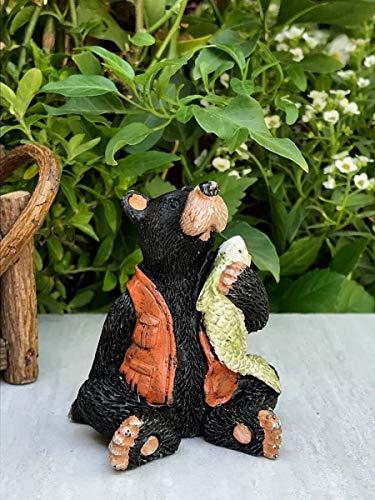 Miniature Dollhouse Fairy Garden Figurine ~ Mini Bear Fisherman Sitting w -