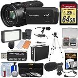 Panasonic HC-VX1 Wi-Fi 4K Ultra HD Video Camera Camcorder 64GB Card + Hard Case + 3 Filters + Tripod + LED Video Light + 2 Microphones + Kit