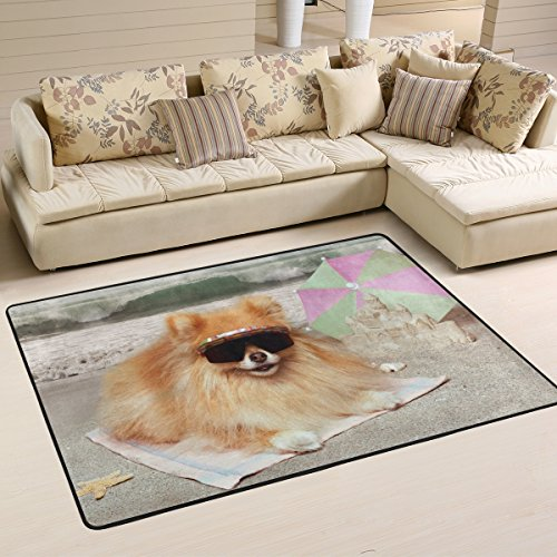 XiangHeFu Personalized Area Rugs Pomeranian Dog Wearing Sunglasses Lying On Towel at The Beach 3'x2' (36x24 Inches) Floor Doormats Mat Soft for Living Room Bedroom Home Kitchen Decorative