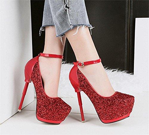 NVXIE Femmes Sexy Tribunal Chaussures Stylet Haute Talon Plate-Forme Pointu Cheville Sangle Boucle Noir Travail Fête Robe Boîte de Nuit RED-EUR38UK55 5w0QWli5HZ