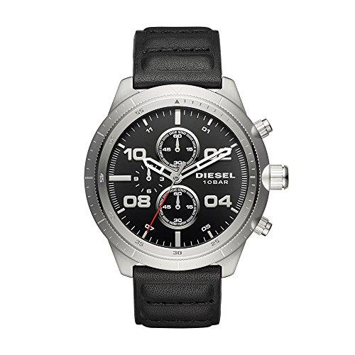 Diesel Men's DZ4439 Padlock Stainless Steel Black Leather Watch