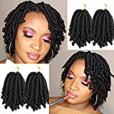 JQM Pre-twisted Spring Twist Crochet Hair 4 Packs Short Bob Spring Twists Crochet Braids Ombre Colors Passion Twists Fluffy C