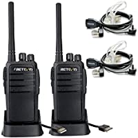 Retevis RT21 Two Way Radio Rechargeable UHF 400-480MHz 16 CH CTCSS/DCS VOX Scan Squelch Scrambler Security Walkie Talkies(2 Pack) and Covert Air Acoustic Earpiece(2 Pack)