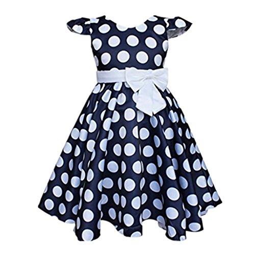 DreamHigh Little Girls Toddle Polka Dot Skirt Cap Sleeves Flowers Girl Vintage Bow Dress Navy 6 ()