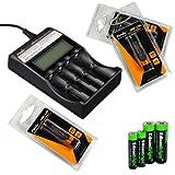 Fenix ARE-C2 four bays Li-ion/ Ni-MH advanced universal smart battery charger, Three Fenix 18650 ARB-L2S 3400mAh rechargeable batteries (For PD35 PD32 TK22 TK75 TK11 TK15 TK35 TK51) with EdisonBright Batteries sampler pack