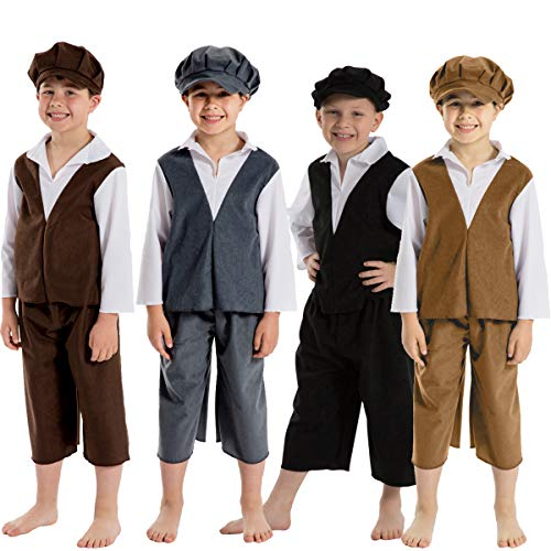 Charlie Crow Archie Victorian Boy Costume for Kids 7-9 Years. Dark Brown & White. -