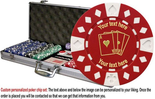 Custom Poker chip Set: 4 Aces image & your custom text printed on the chips. 500 11.5 gram chip w/case & more. by ChipsAndGames