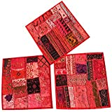 Set Of 3 Boho Decorative Indian Throw Pillow Cases Red Embroidered Patchwork Cushion Cover 16 x 16