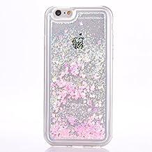 iPhone 6s plus case, Myckuu Soft TPU Liquid, Cool Quicksand Moving Stars Bling Glitter Floating Dynamic Flowing Case Liquid Cover for Iphone 6 plus (love+PK+WT)