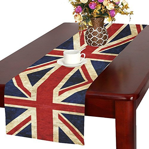 InterestPrint Grunge Union Jack Flag Fabric Table Runner Placemat 16 x 72 inch, British UK Table Cloth for Office Kitchen Dining Wedding Party Home Decor -
