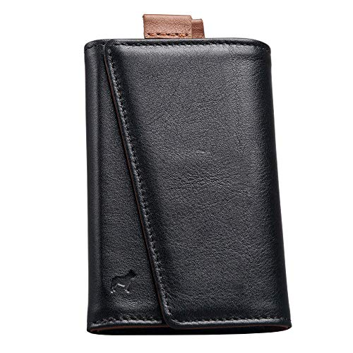 The Frenchie Co. | The Original Speed Wallet - Top Quality Italian Leather - RFID Blocking - Super Fast Card and Bill Access | Black/Tan ()