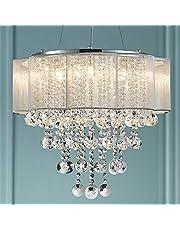 Bestier Moderne elegante kristallen hanger Drum kroonluchter 6 licht Chrome verlichtingsarmatuur LED-plafondlamp Dia 55 cm x H 48 cm
