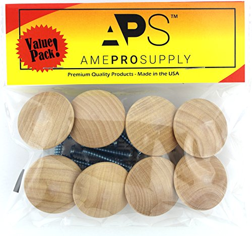 Wood knobs for Cabinet Doors - Dresser Furniture Drawers - 1 1/2 inch Small Wooden Knob - Unfinished Craft - Folding bifold door Cabinets drawer - Stain or paint white (8)