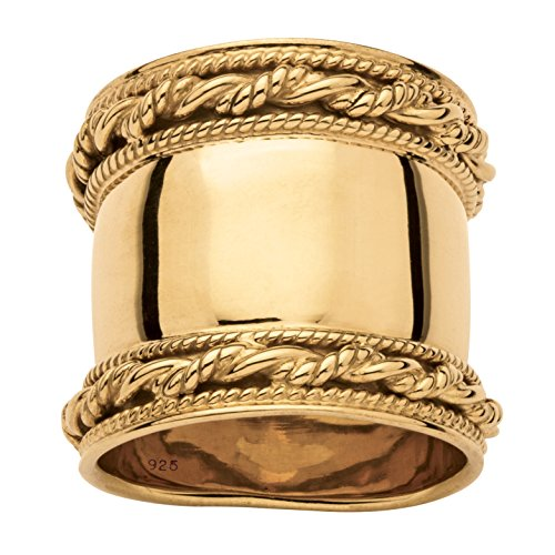 18k Gold over .925 Sterling Silver Cigar Band-Style Wide Rope (Gold Wide Band Ring)