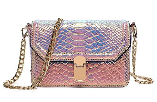 (Holographic Snakeskin Crossbody Bag Shoulder Bag Women's Hologram Leather Purse (Large,)