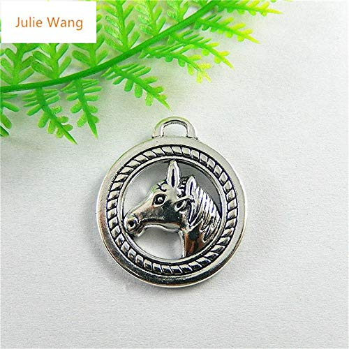 Charm Horse Head Tibetan Silver Horse 5PCs Mini Antique Silver Vivid Double Faces Horse Head Necklace Pendants Charms Handmade Gifts Hanging -