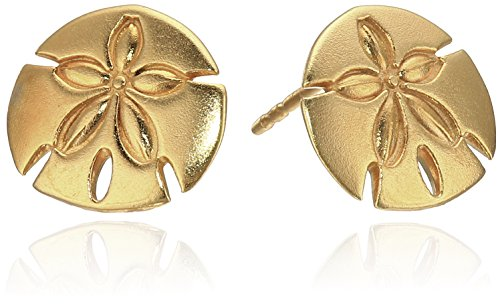 - Alex and Ani Post Sand Dollar 14k Gold Plated Stud Earrings