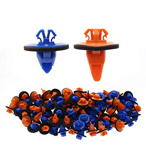 AUTOKAY New 100x Orange & Blue Clips for 4Runner Tacoma Trim Moulding 75395-35070 75396-35020 ()