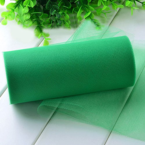 Glitter Pink Tulle - Tulle Rolls - Glitter Tulle Rolls - 26.7X15cm Tissue Tulle Spool Craft Wedding Decoration Tulle Rolls Organza Gauze Element Table Runner Mariage Party Decoration (Green)