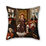 pillow shams of oil painting Cruz, Diego de la - Christ child among doctors 18 x 18 inches / 45 by 45 cm,best fit for play room,wedding,kitchen,divan,car,study room both sides