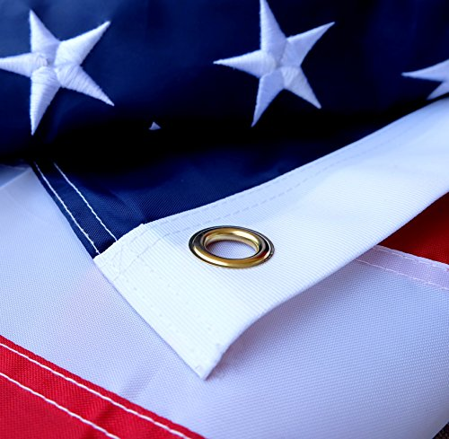 American Flag 3x5 ft - Heavy-Duty US Flag - Embroidered Stars - Nylon USA Flag Built for Outdoors - Sewn Stripes - UV Protection - Brass Grommets by NatFlag (Image #3)