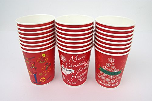 Set of 32 Christmas Design 10oz Disposable Hot Beverage Insulated Paper Party Cups 8 of Each Design Wedding Birthday Graduation Office Party Supplies Decorations Wholesale Takeout Coffee Cup (D Type)