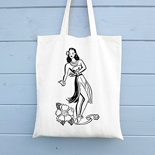 Hula Girl Canavs Tote Bag, Tote Shopper Market Tote Bag, Shopping Bag Gift for Her, Ethical Tote Bag -