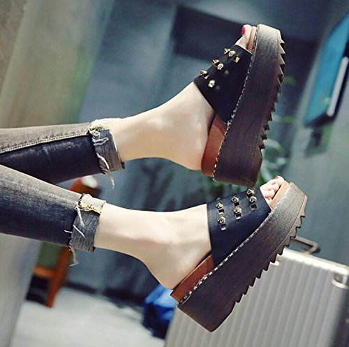 KHSKX-Hill Und Die Hausschuhe Sommer Weiblich Biskuitteig Frauen Schuhe Die Koreanische Version Des Dicken Elegant Und Vielseitig Verschleiß Nieten Coole High Heeled Hausschuhe 39