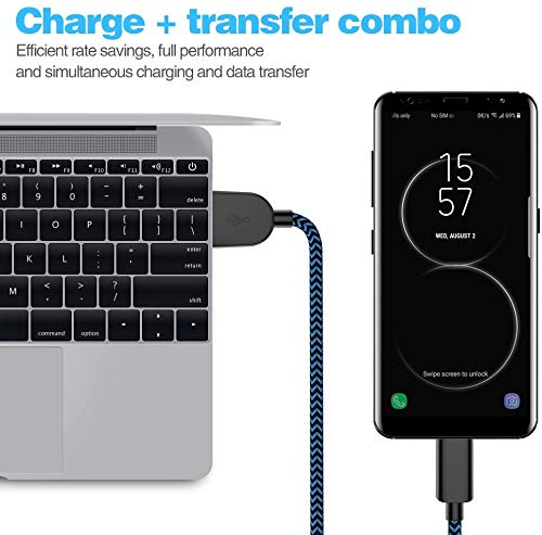 USB Type-C Cable 3A Fast Charging,L&HE 4Pack (3/6/6/10FT) Compatible with Samsung Galaxy A10/A20/A51/S10/S9/S8 Cabepow Charger Cable, PS5 Controller, etc. (Black and Blue)
