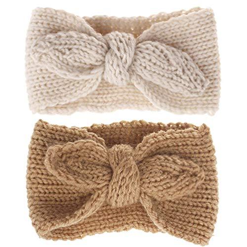 Turban Headband Baby Girl - Warm Rabbit Knot Hair Band, Knit Head Wrap for Newborn, Toddler and Children (Camel + Beige)