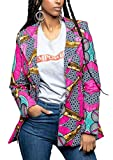 Jaycargogo Women Dashiki Africa Print One Button Slim Fit Blazer Jackets 2 M