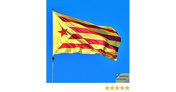 MI RINCON Bandera de CATALUÑA ESTELADA VERMELLA 90 x 150cm - Bandera CATALANA INDEPENDENTISTA – Catalunya: Amazon.es: Juguetes y juegos