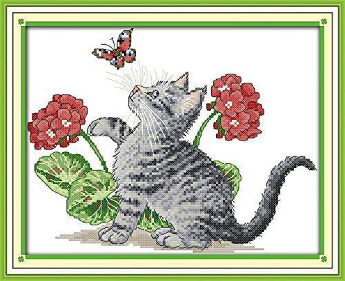 Astitch Stamped Cross Stitch Kits Baby cat play with - Stitch Pattern Cross Butterfly
