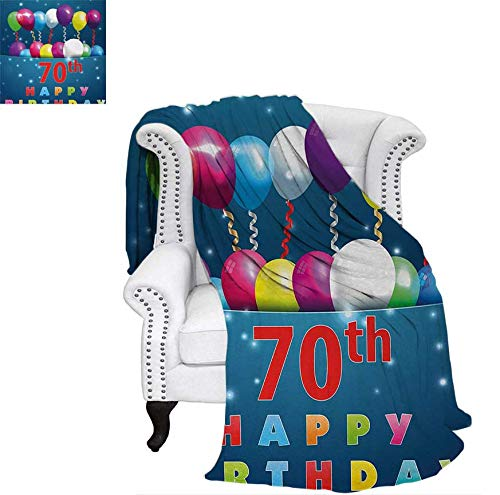 Nicely 70th Birthday Heavy Blanket Colorful Balloons on Dark Blue Backdrop with The Party Items Artistic Print Throw Blanket 90 x 70 inchMulticolor