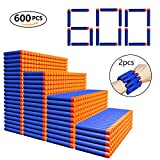 600 PCS Refill Bullets Darts + 2PCS Rubber Storage Wrist Belt for Nerf Guns N-Strike Elite Series Blasters - Cyclone EVA Sponge Foam Soft Tips Dart Pack for Children Toys by MIBOTE