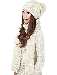Women Girls Knitted Hat Scarf Set - Valentine's Day Gifts Fashion Winter Warm Hat with Attached Scarf …