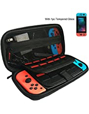 Nintendo Switch Case with Screen Protector [Holds 20 Games] Game Case for Nintendo Switch Console & Accessories, Black