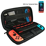 APlus Nintendo Switch Case with Screen Protector [Holds 20 Games] Protective Hard Portable Travel Case for Nintendo Switch Console & Accessories, Black