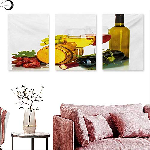 Mannwarehouse Wine Wall Art Oil Paintings Composition with Small Barrel Two Types of Grapes Drinks Beverage Product Wall Panel Art Red Yellow Pale Green W 20