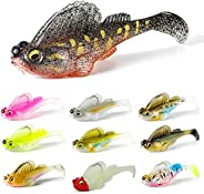 10 PCs Soft Fishing Lures for Bass Trout, Pre-Rigged Soft Fishing Swimbaits with Sharp Hooks, Trout Pike Fishi
