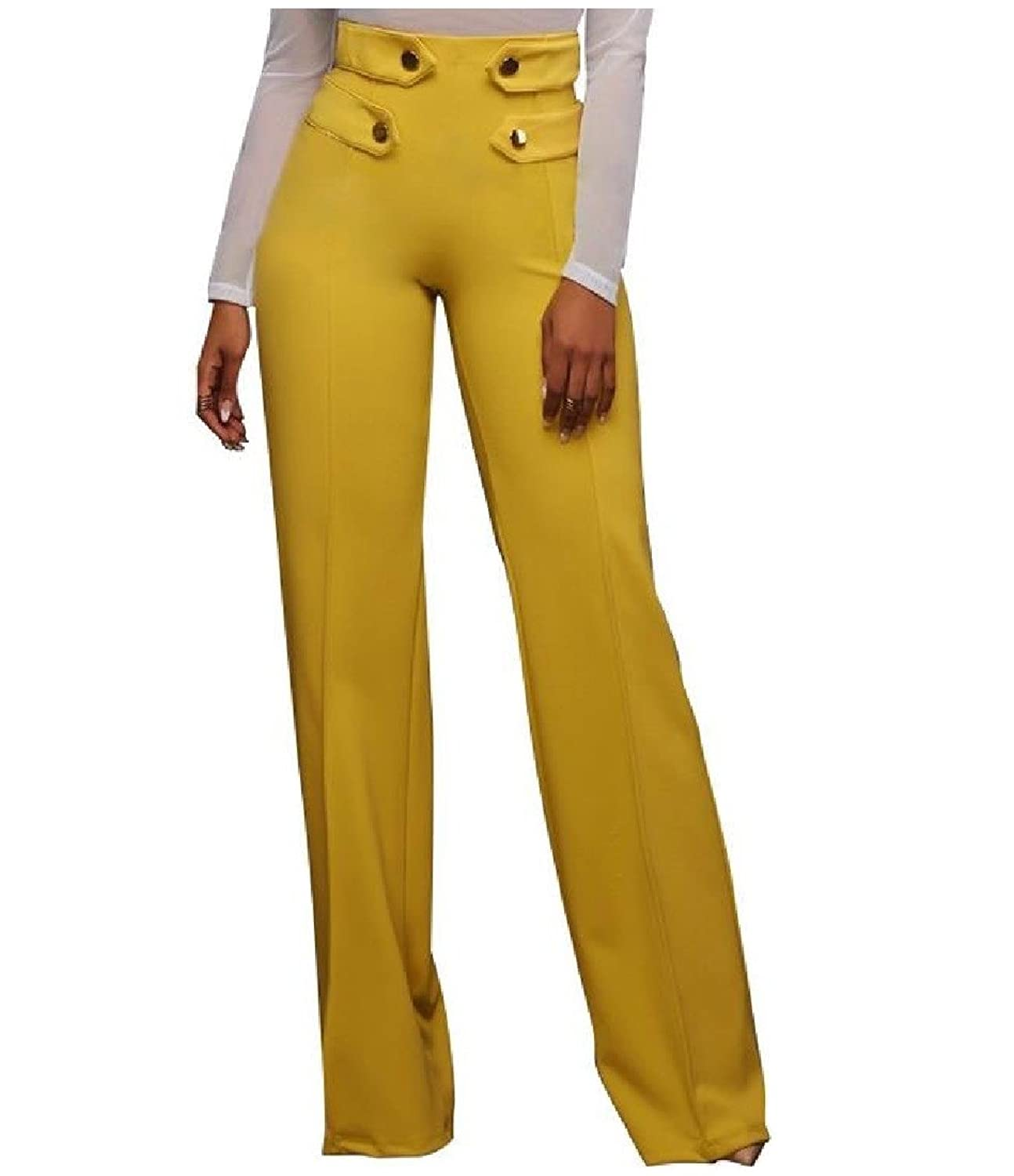 Abetteric Womens High Waist Solid Wide Legs Casual Soft Chic Trousers