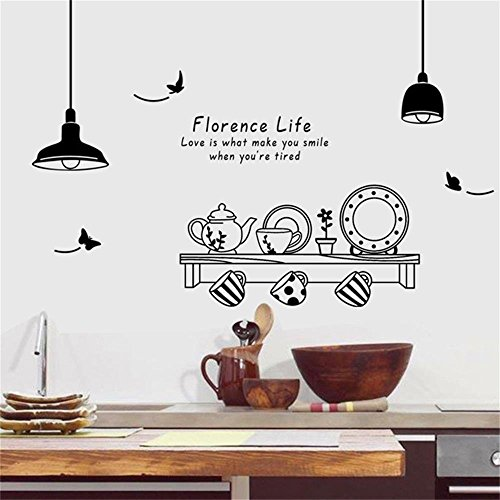 ufengke home A Taste of Florence Life Wall Art Stickers Fancy Kettle, Cups, Saucers Inspirational Paulo Coelho Love Quote Decorative Removable DIY Vinyl Wall Decal Mural for Kitchen, Dining Room