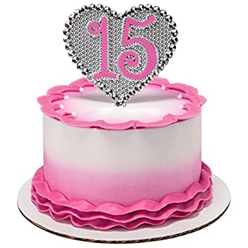 La Quinceanera Silver Heart Shaped Pink Or Purple 15 Years Old Cake Topper