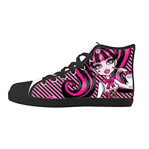 RenBen Non-slip plimsolls Custom Monster High Kids Canvas Shoes Lace-up High-top Footwear Slip-on (Monster High Customs)