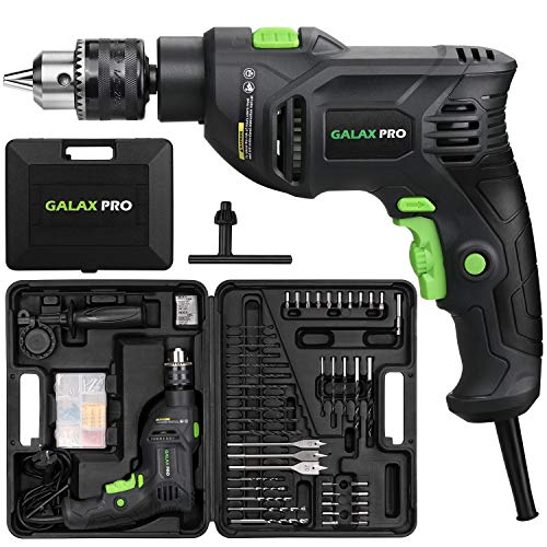 Impact Drill, GALAX PRO 5Amp 1/2-inch Corded Hammer Drill with 105pcs Accessories, Variable Speed 0-3000, Hammer and Drill 2 Functions in 1, 360°Rotating Handle, Depth Gauge, Carrying Case Included