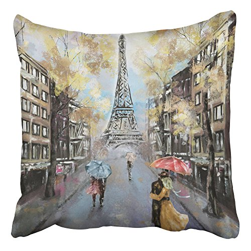 France Oil Painting (Emvency Throw Pillow Covers Oil Painting Paris European City Landscape France Eiffel Tower Modern Art Decor Pillowcases Polyester 18 X 18 Inch Square Hidden Zipper Home Cushion Decorative Pillowcase)
